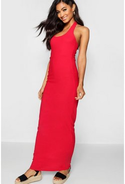 Womens Red Halterneck Plunge Jersey Maxi Dress