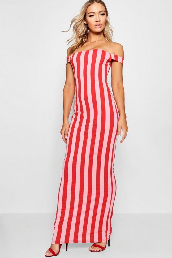 Stripe Print Bardot Jersey Maxi Dress