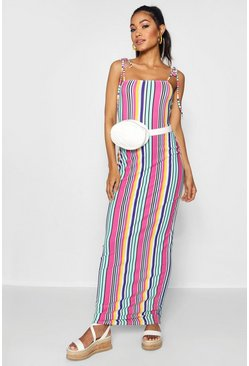 Womens Pink Tie Shoulder Jersey Maxi Dress