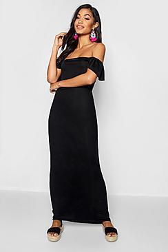 Ruffle Off The Shoulder Jersey Maxi Dress