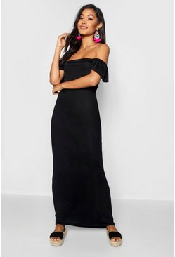 Womens Black Ruffle Off The Shoulder Jersey Maxi Dress