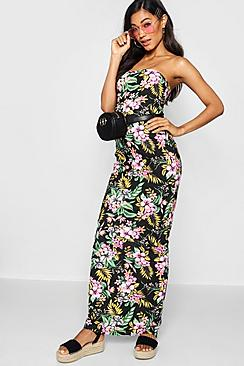 Tropical Print Bandeau Maxi Dress