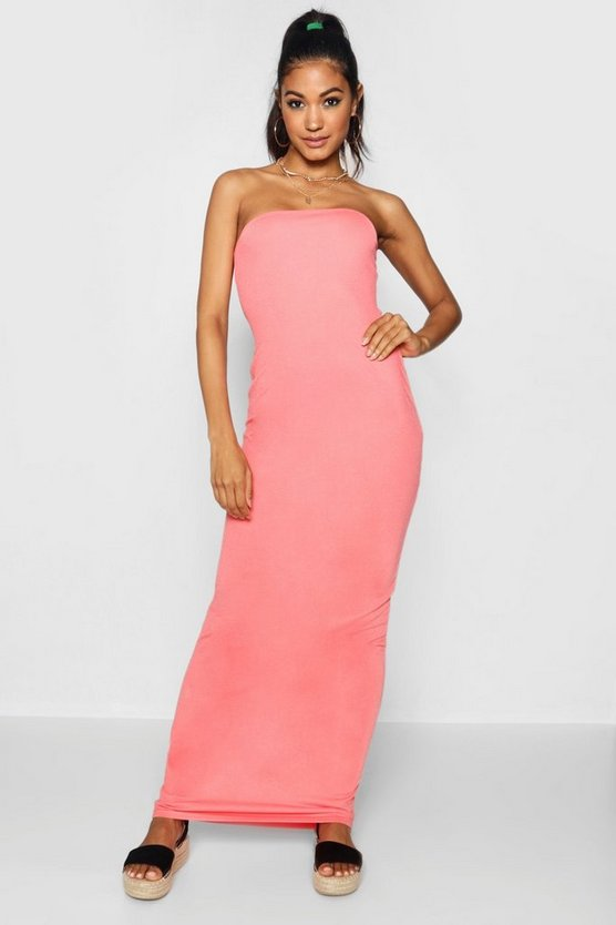 Womens Baked coral Bandeau Column Jersey Maxi Dress