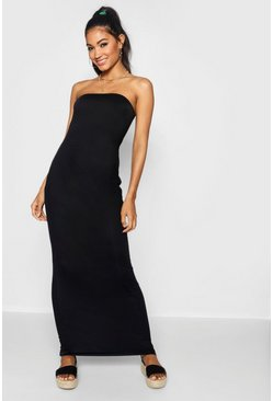 Womens Black Bandeau Column Jersey Maxi Dress