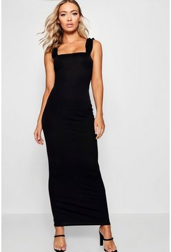 Womens Black Ruffle Shoulder Jersey Maxi Dress