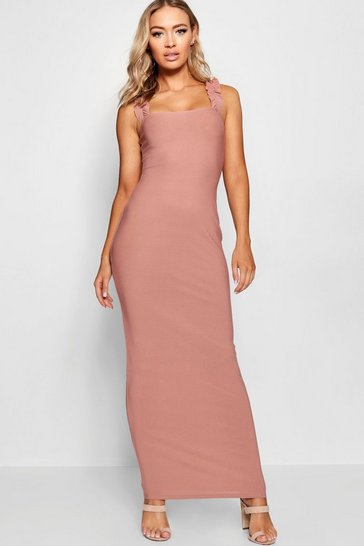 Womens Rose Ruffle Shoulder Jersey Maxi Dress