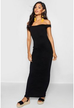 Womens Black Bardot Column Jersey Maxi Dress
