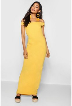 Womens Mustard Bardot Column Jersey Maxi Dress