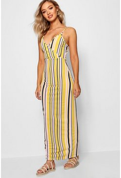 Womens Mustard Stripe Print Wrap Front Maxi Dress