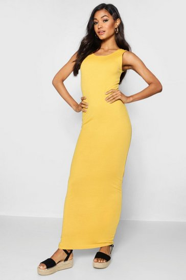 Womens Mustard Scoop Front Jersey Maxi Dress