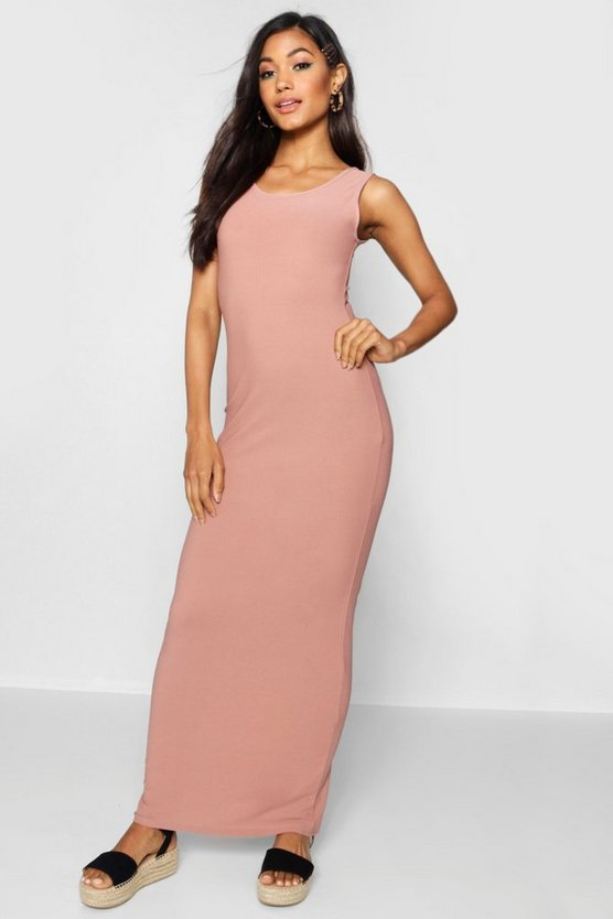 Womens Rose Scoop Front Jersey Maxi Dress