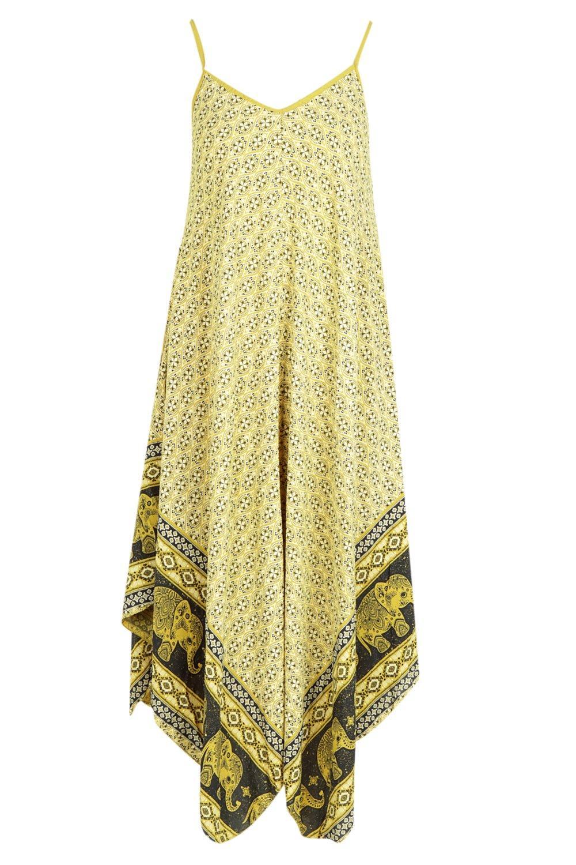 Boohoo-Womens-Elephant-Print-Hanky-Hem-Dress