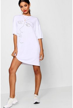 Womens White Scribble Face Oversized T Shirt Dress