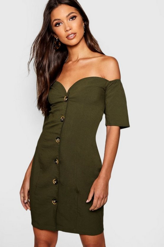 Womens Khaki Sweetheart Mock Horn Button Front Mini Dress