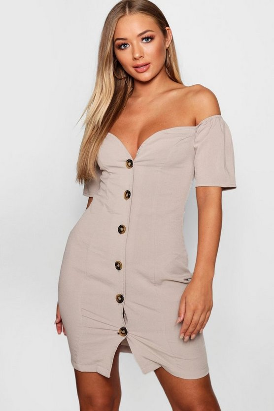 Womens Taupe Sweetheart Mock Horn Button Front Mini Dress