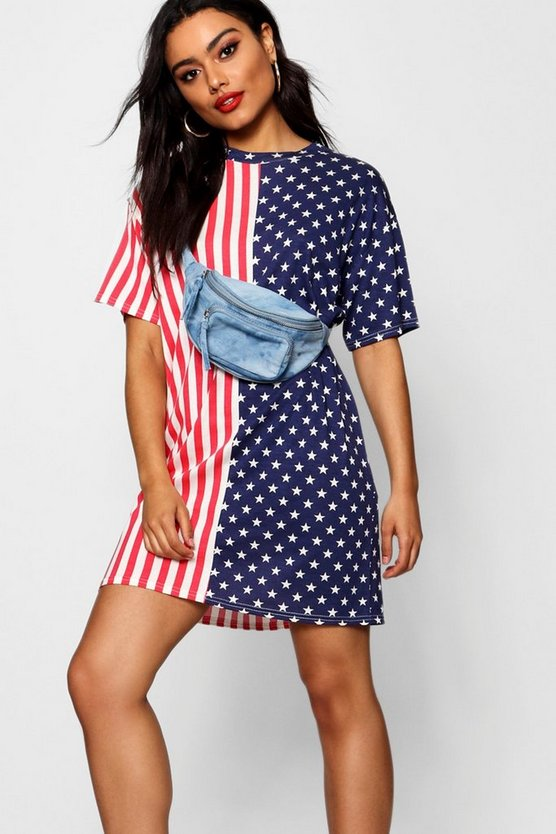 Stars & Stripes Oversized T Shirt Dress