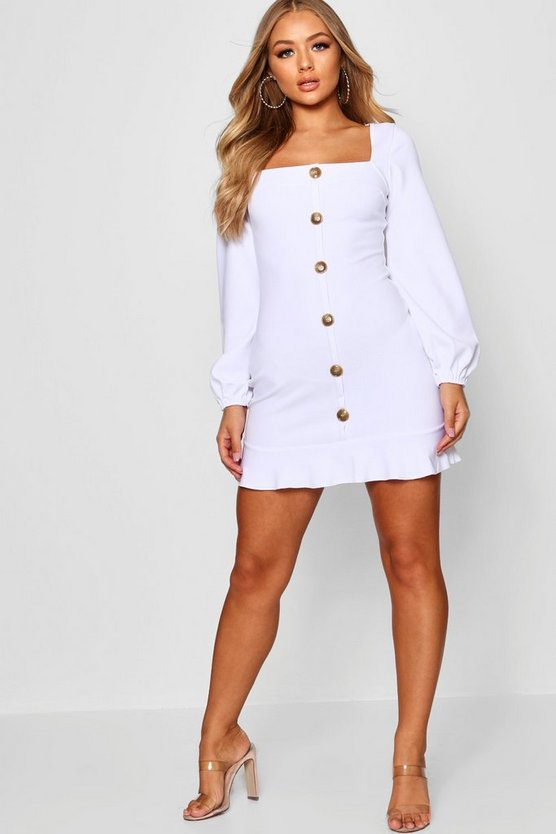 Button Up Blouson Sleeve Bodycon Dress