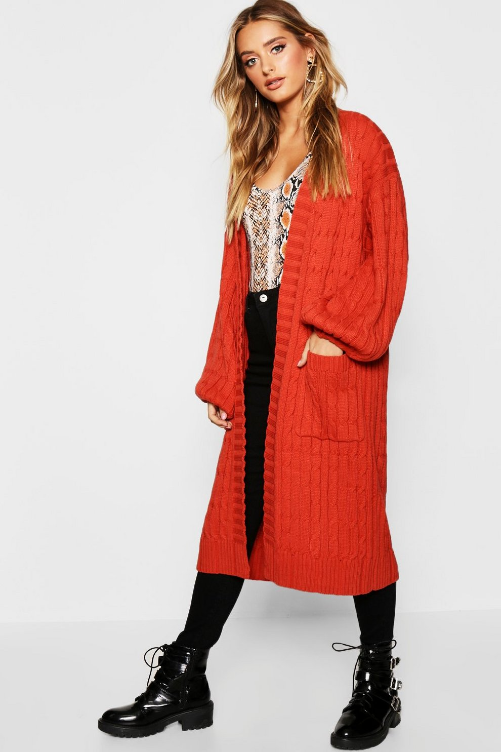 82ac0a2dfd3a Cable Knitted Midi Cardigan
