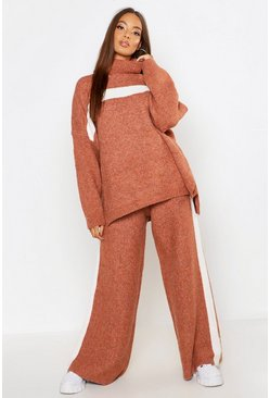 Womens Camel Premium Knitted Sports Athleisure Set