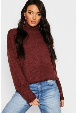 Womens Chocolate Oversized Roll Neck Jumper