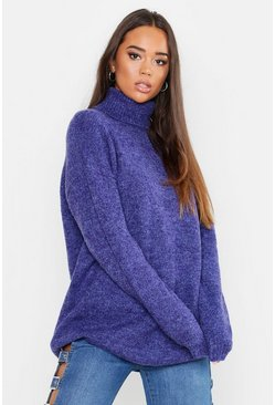 Womens Denim-blue Oversized Roll Neck Jumper