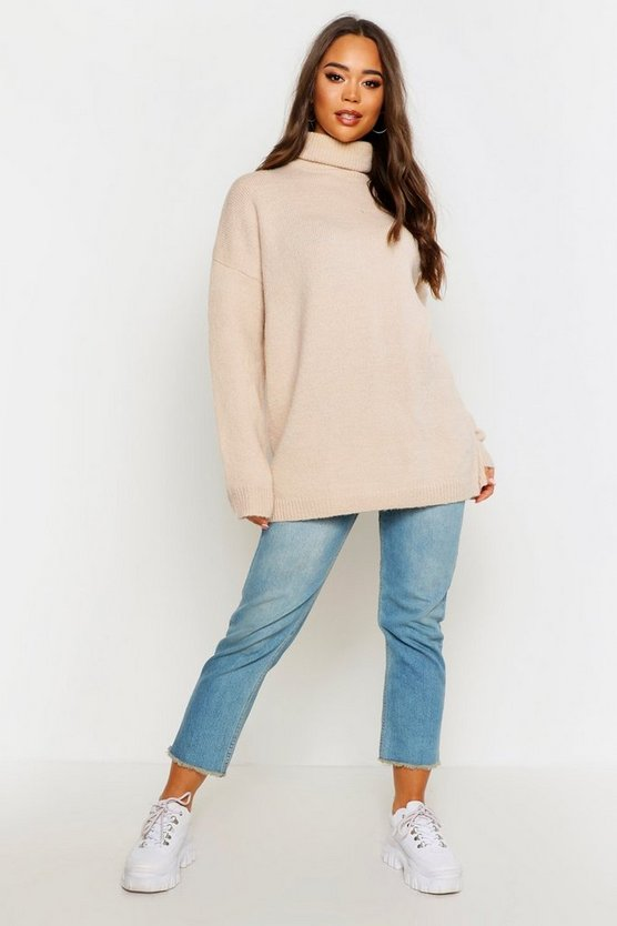 Womens Stone Oversized Roll Neck Jumper