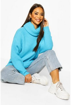 Aqua Oversized Roll Neck Rib Knit Jumper