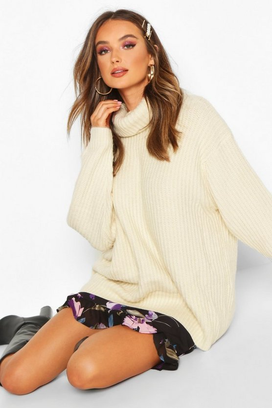 Womens Cream Oversized Roll Neck Rib Knit Jumper