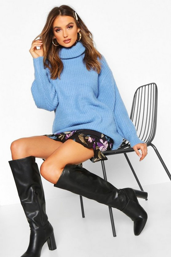 Oversized Roll Neck Rib Knit Jumper, Dusty blue, Donna