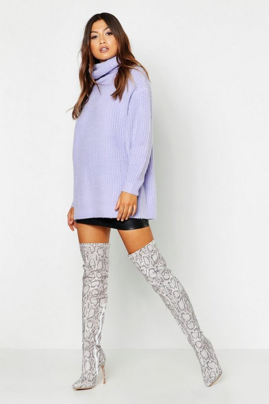 Womens Lilac Oversized Roll Neck Rib Knit Sweater
