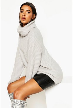 Womens Silver Oversized Roll Neck Rib Knit Jumper