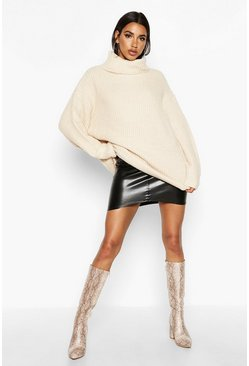 Stone Oversized Roll Neck Rib Knit Jumper