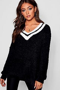 V-Neck Oversized Sports Stripe Feather Knit Sweater