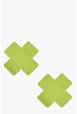 Womens Neon-lime Cross Nipple Covers