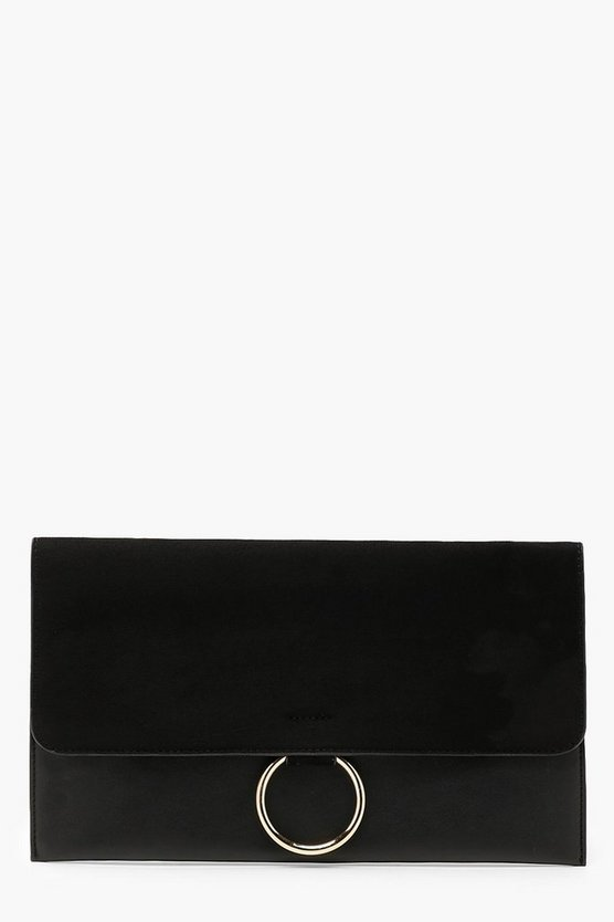 Circle Trim Mixed Texture Clutch