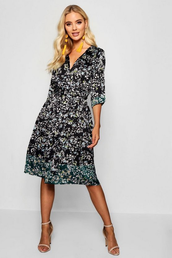Woven Floral Mix Print Tie Waist Midi Dress