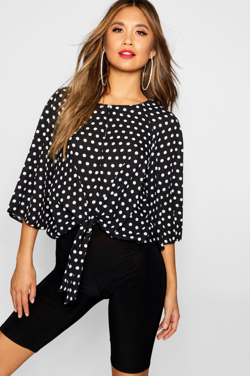 Image of %brand% Polka Dot Keyhole Wrap Detail Blouse