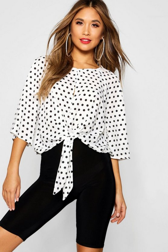 Polka Dot Keyhole Wrap Detail Blouse