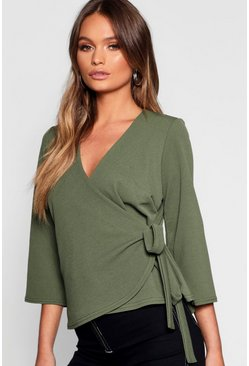 Womens Khaki Plain Wrap Detail Blouse