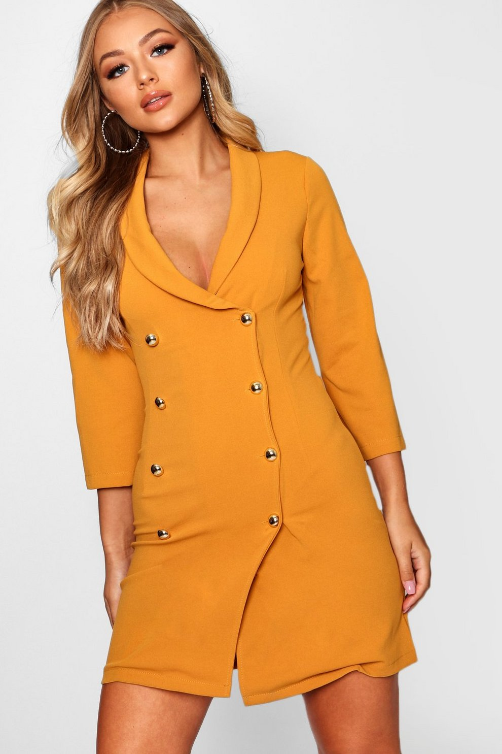 99be78eeaf049 Womens Mustard Double Breasted Gold Button Blazer Dress. Hover to zoom