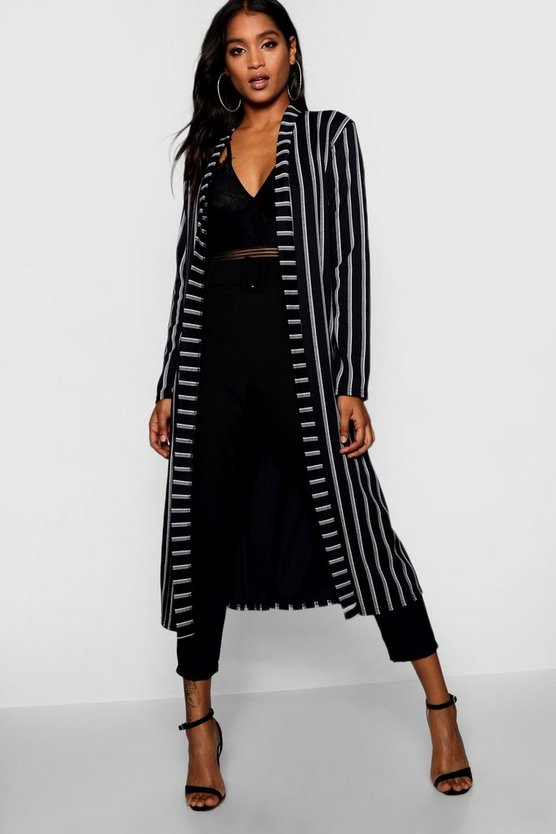 Womens Black Longline Belted Duster Jacket