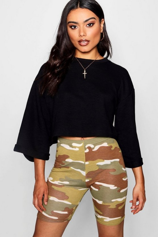 Womens Black Raw Edge Sleeve Crop Sweat Top