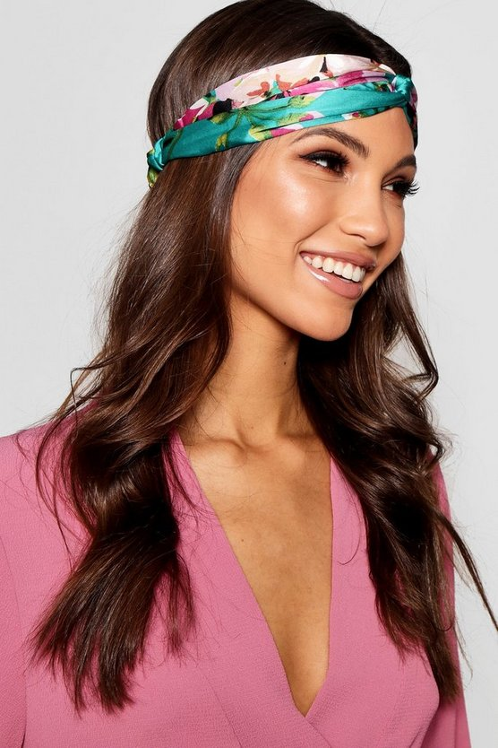 Green Satin Floral Print Twist Knot Headband