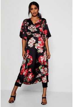Womens Black Floral Satin Duster