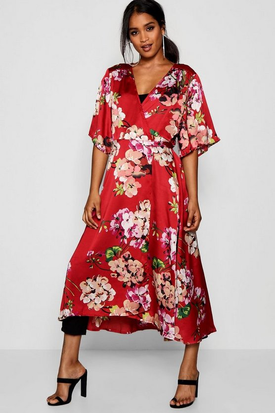Floral Satin Duster
