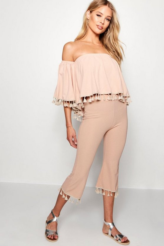 Tassle Trim Wide Leg Trousers Co-ord