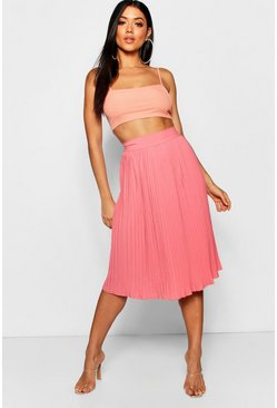 Womens Coral Pleated Woven Crepe Midi Skirt