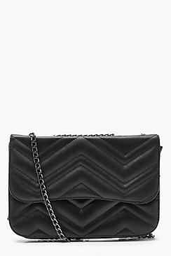 Zig Zag Quilted PU Chain Strap Cross Body