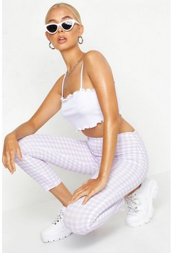 Womens Lilac High Waist Gingham Check Split Skinny Trouser