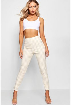Womens Nude High Waist Gingham Check Split Skinny Trouser